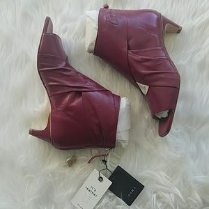 Zara Pink Strawberry Leather Open Toe Ankle Boots